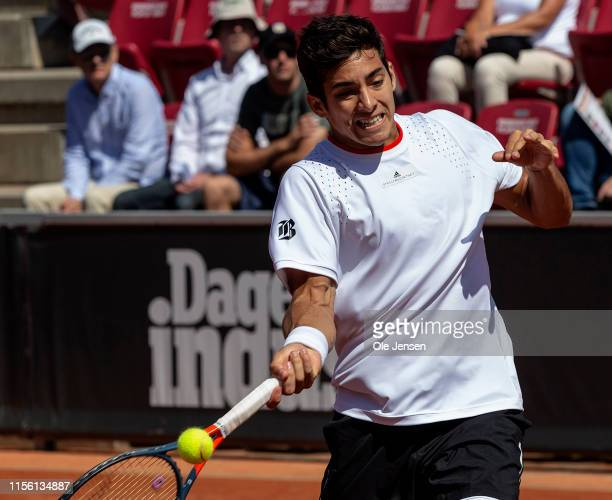 Christian Garin of Chile during his match against Jeremy Chardy of France during the FTA singles tournament at the 2019 Swedish Open FTA on July 17...