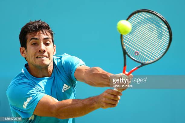 Christian Garin of Chile plays a backhand during his First Round Singles Match against Marin Cilic of Croatia during Day One of the FeverTree...