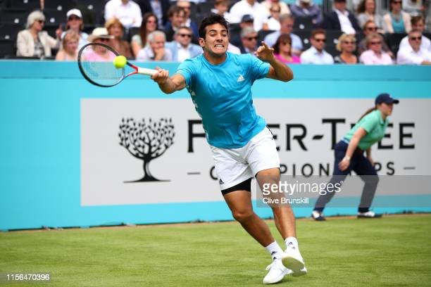 Christian Garin of Chile plays a forehand during his First Round Singles Match against Marin Cilic of Croatia during Day One of the FeverTree...