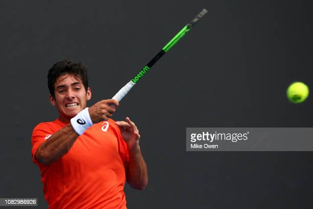 Christian Garin of Chile plays a forehand in his first round match against David Goffin of Belgium during day two of the 2019 Australian Open at...