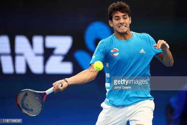 Christian Garin of Chile plays a shot in his match against Kevin Anderson of South Africa during day four of the 2020 ATP Cup Group Stage at Pat...