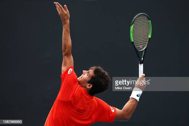 Christian Garin of Chile serves in his first round match against David Goffin of Belgium during day two of the 2019 Australian Open at Melbourne Park...