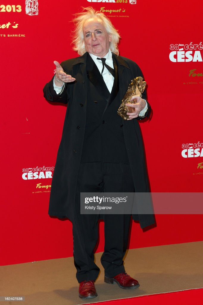 Christian Gasc poses with his Cesar award for best costumes for 'Les Adieux A La Reine' during the Cesar Film Awards 2013 at Le Fouquet's on February 22, 2013 in Paris, France.