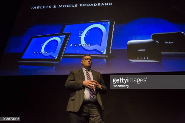 Christian Gatti global president of Alcatel Mobile speaks on stage during an AlcatelLucent SA launch event ahead of the Mobile World Congress in...