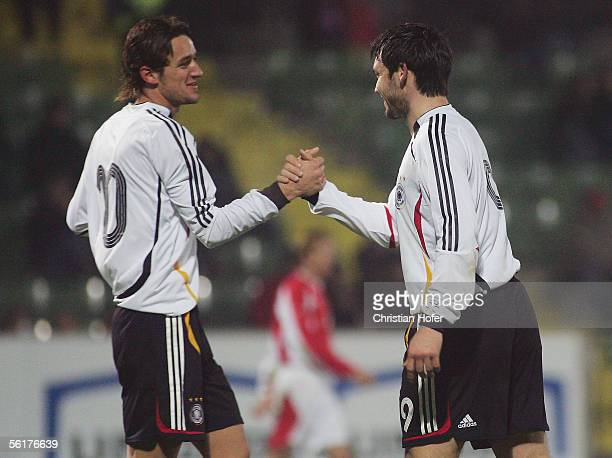 Christian Gentner and Benjamin Auer of Germany celebrate the fifth goal during the international friendly match between Germany Team 2006 and Austria...