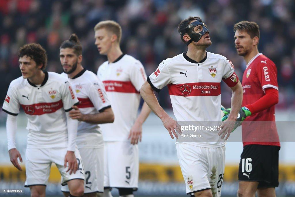 Christian Gentner and tem mates of Stuttgart react during the Bundesliga match between VfB Stuttgart and FC Schalke 04 at Mercedes-Benz Arena on January 27, 2018 in Stuttgart, Germany.