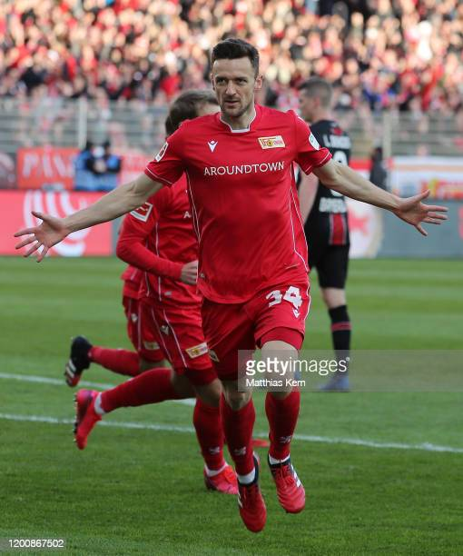 Christian Gentner of Berlin celebrates after scoring his team's first goal during the Bundesliga match between 1. FC Union Berlin and Bayer 04...