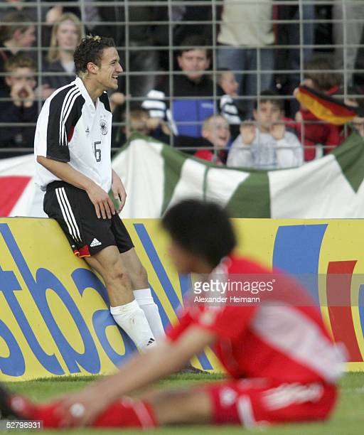 Christian Gentner of Germany celebrates his goal during the match between Germany and China in the men's under 20's International on May 11 2005 in...