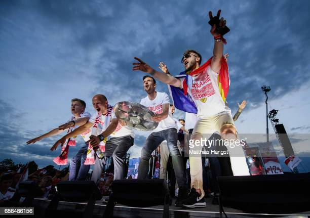 Christian Gentner of Stuttgart and his teammates celebrate with the Championship trophy at the stage of the FanParty after winning the 2 Second...