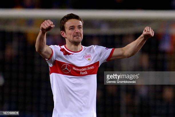 Christian Gentner of Stuttgart celebrates after scoring his team's second goal during the UEFA Europa League Round of 32 second leg match between KRC...