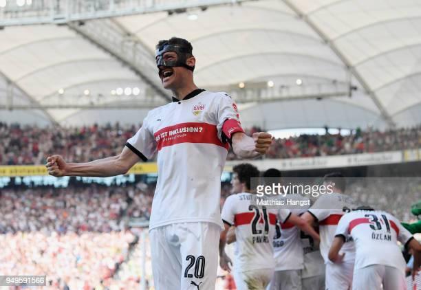 Christian Gentner of Stuttgart celebrates after the second goal during the Bundesliga match between VfB Stuttgart and SV Werder Bremen at...