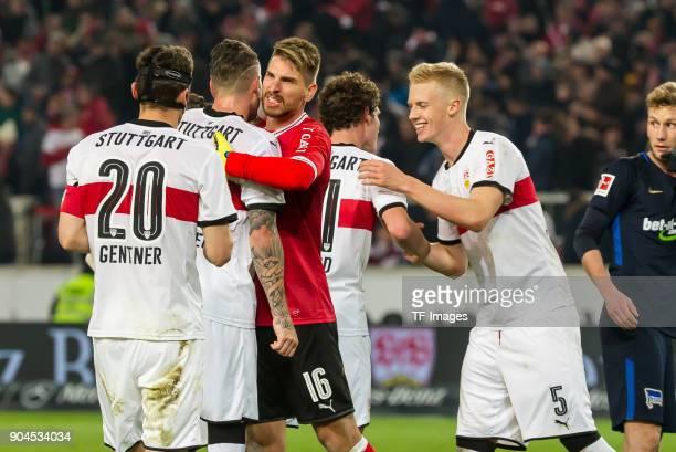 Christian Gentner of Stuttgart Daniel Ginczek of Stuttgart Goalkeeper RonRobert Zieler of Stuttgart and Timo Baumgartl of Stuttgart celebrate after...