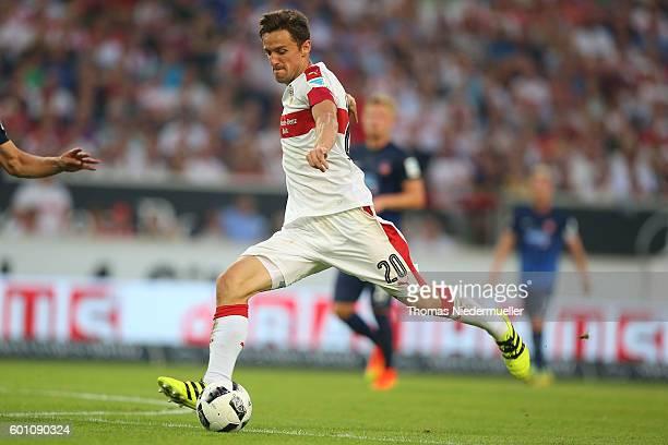 Christian Gentner of Stuttgart runs with the ball during the Second Bundesliga match between VfB Stuttgart and 1 FC Heidenheim 1846 at MercedesBenz...