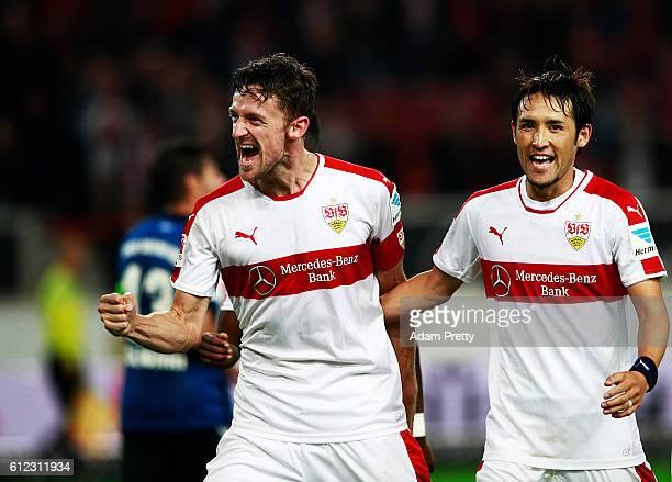 Christian Gentner of VfB Stuttgart celebrates with Hajime Hosogai of VfB Stuttgart after scoring the fourth goal during the Second Bundesliga match...