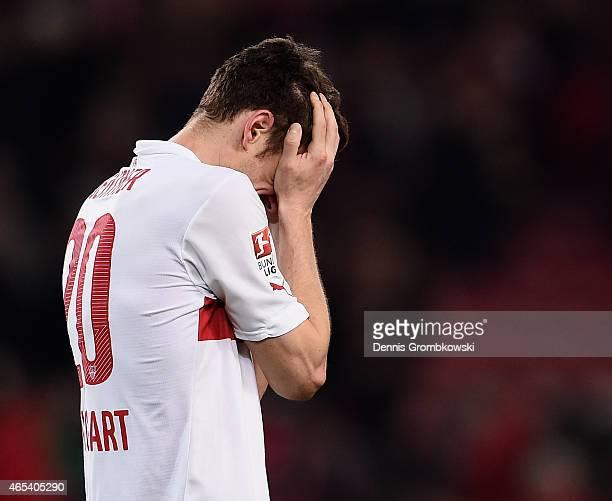Christian Gentner of VfB Stuttgart reacts after the Bundesliga match between VfB Stuttgart and Hertha BSC at Mercedes-Benz Arena on March 6, 2015 in...