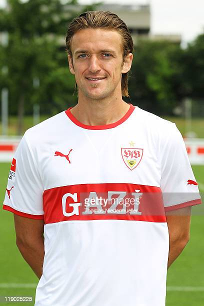 Christian Gentner poses during the VfB Stuttgart team presentation at Stuttgart's training ground on July 14 2011 in Stuttgart Germany