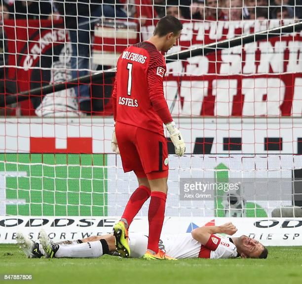 Christian Gentnerof Stuttgart after a heavy foul by goalkeeper Koen Casteels of Wolfsburg during the Bundesliga match between VfB Stuttgart and VfL...
