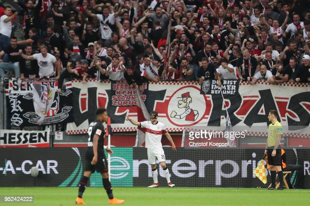 Christian Gentnerof Stuttgart celebrates after he scored a goal to make it 01 during the Bundesliga match between Bayer 04 Leverkusen and VfB...