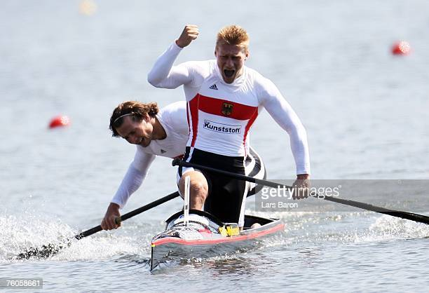 Christian Gille and Tomasz Wylenzek of Germany celebrate after winning the C2 1000m final during the Canoe World Championship 2007 at the Regattabahn...