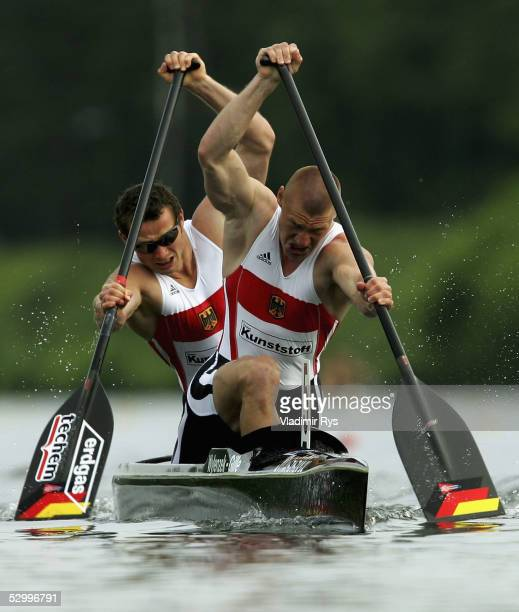 Christian Gille and Tomasz Wylenzek of Germany in action in the final of C2 200m race during the Canoeing World Cup on May 29 2005 in Duisburg Germany