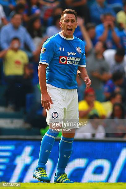 Christian Gimenez of Cruz Azul celebrates after scoring the second goal of his team during the 8th round match between Cruz Azul and America as part...