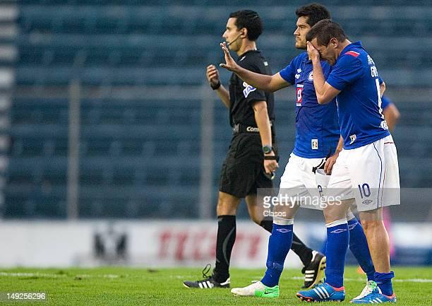Christian Gimenez of Cruz Azul celebreates a goal during the Torneo Copa MX match between Cruz Azul and Neza FC at Azul Stadium on july 25 2012 in...