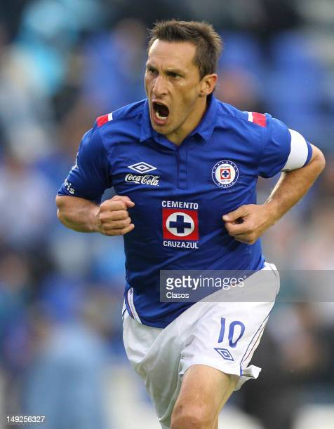 Christian Gimenez of Cruz Azul celebreates a goal during the Torneo Copa MX match between Cruz Azul and Neza FC at Azul Stadium on july 25 2012 in...