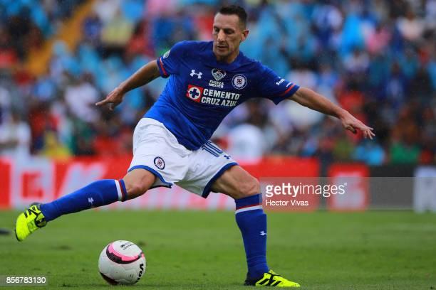 Christian Gimenez of Cruz Azul drives the ball during the 12th round match between Pumas UNAM and Cruz Azul as part of the Torneo Apertura 2017 Liga...