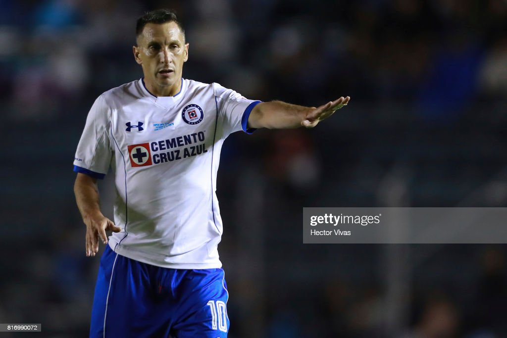 Christian Gimenez of Cruz Azul gestures during a match between Cruz Azul and Porto as part of Super Copa Tecate at Azul Stadium on July 17, 2017 in Mexico City, Mexico.