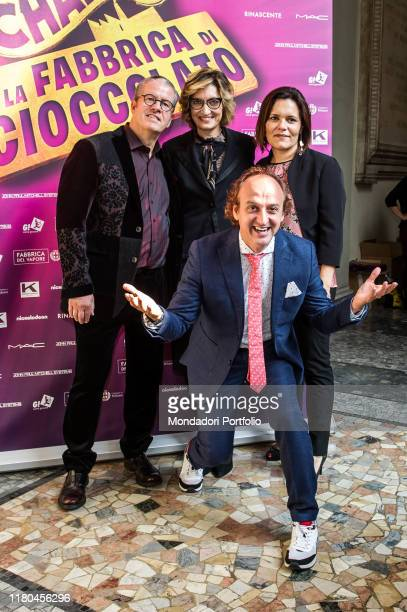 Christian Ginepro Ernst Knam and Alessandra Mion attend at the presentation of Charlie and the Chocolate factory the musical at Palazzo Marino Milan...