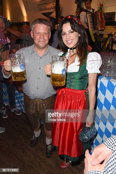 Christian Gohl and Natalia Avelon attend the WiesnAnstich im Hofbraeuhaus Berlin on September 17 2016 in Berlin Germany