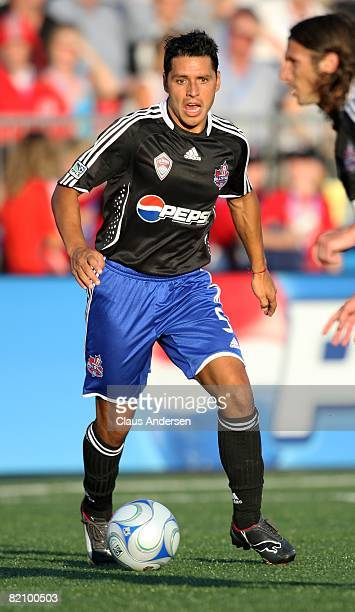 Christian Gomez dribbles the ball during the 2008 Pepsi MLS All-Star Game between the MLS All-Stars and West Ham United at BMO Field on July 24, 2008...