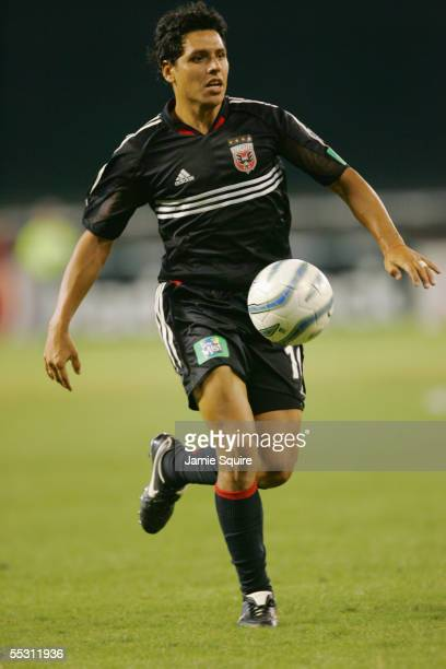 Christian Gomez of DC United dribbles against Real Salt Lake during the MLS game on August 31, 2005 at RFK Stadium in Washington, DC. DC United...