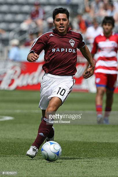 Christian Gomez of the Colorado Rapids controls the ball against FC Dallas on June 1, 2008 at Dicks Sporting Goods Park in Commerce City, Colorado.