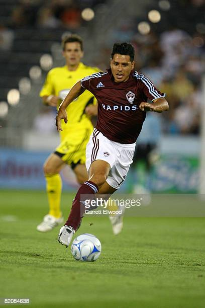 Christian Gomez of the Colorado Rapids controls the ball against the Columbus Crew on July 27, 2008 at Dicks Sporting Goods Park in Commerce City,...