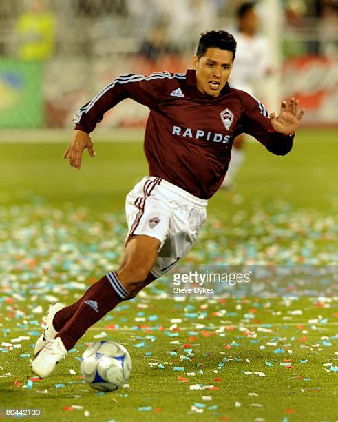 Christian Gomez of the Colorado Rapids controls the ball during the MLS soccer game against the Los Angeles Galaxy at Dick's Sporting Good's Park on...
