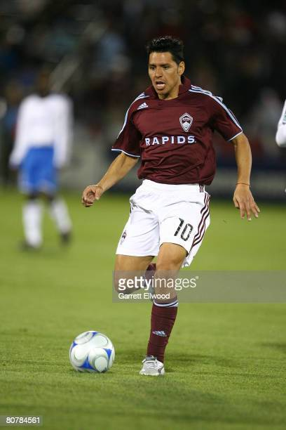 Christian Gomez of the Colorado Rapids controls the ball during the MLS game against the San Jose Earthquakes on April 19 2008 at Dicks Sporting...