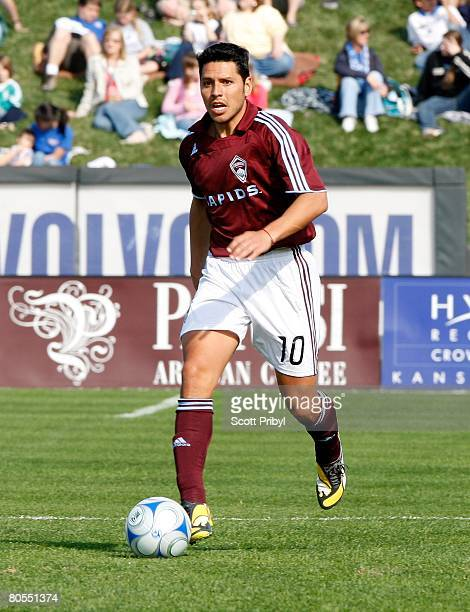 Christian Gomez of the Colorado Rapids dribbles against the Kansas City Wizards during the game at Community America Ballpark on April 5, 2008 in...