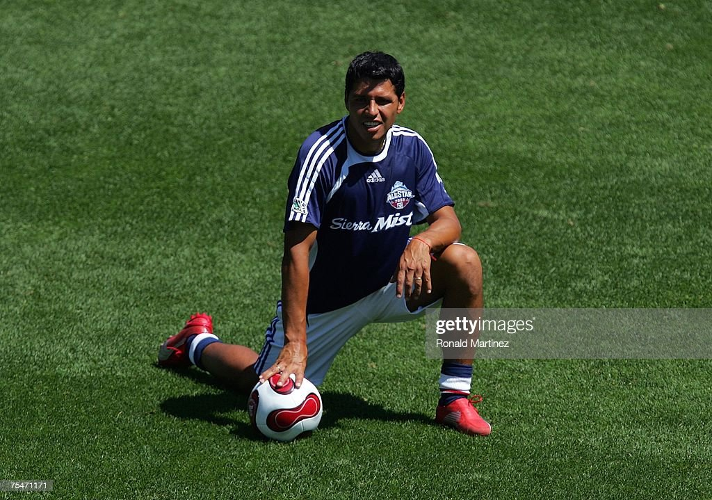 364aaf76b544 Christian Gomez of the MLS All-Stars kneels during a training ...