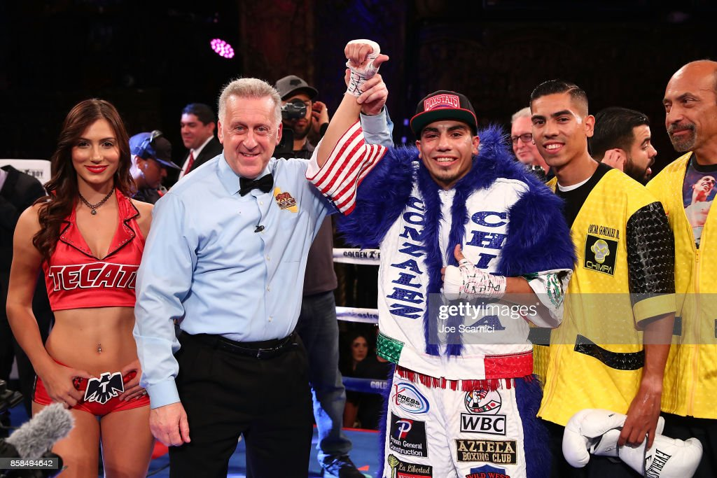Christian Gonzalez celebrates his win against Gamaliel Diaz during their Super Lightweight fight at Belasco Theatre on October 6, 2017 in Los Angeles, California.
