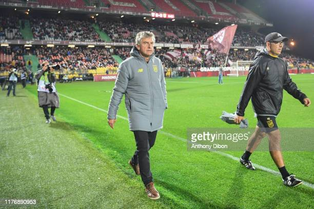 Christian GOURCUFF coach of Nantes during the Ligue 1 match between FC Metz and FC Nantes at Stade Saint-Symphorien on October 19, 2019 in Metz,...