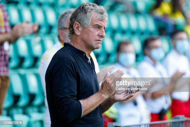 Christian Gourcuff Head Coach of FC Nantes looks on during the Ligue 1 match between FC Nantes and AS SaintEtienne at Stade de la Beaujoire on...