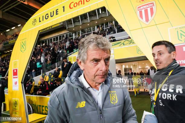 Christian GOURCUFF , Head coach of Nantes during the Ligue 1 match between Nantes and Monaco at Stade de la Beaujoire on October 25, 2019 in Nantes,...