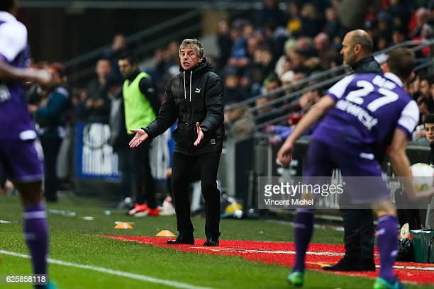 Christian Gourcuff headcoach of Rennes during the French Ligue 1 match between Rennes and Toulouse at Roazhon Park on November 25, 2016 in Rennes,...
