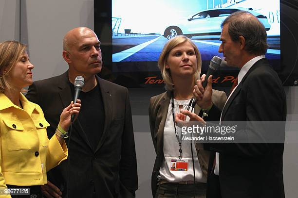 Christian Gross head coach of soccer club VfB Stuttgart and Anke Huber are interviewed at the VIP room during day one of the WTA Porsche Tennis Grand...