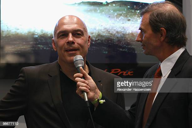Christian Gross, head coach of soccer club VfB Stuttgart is interviewed at the VIP room during day one of the WTA Porsche Tennis Grand Prix...