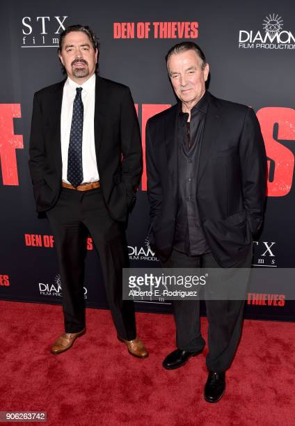 Christian Gudegast and Eric Braeden attend the premiere of STX Films' 'Den of Thieves' at Regal LA Live Stadium 14 on January 17 2018 in Los Angeles...