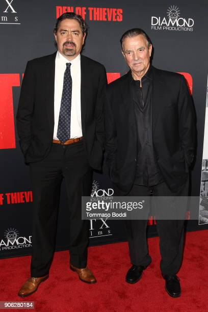 Christian Gudegast and Eric Braeden attend the Premiere Of STX Films' Den Of Thieves at Regal LA Live Stadium 14 on January 17 2018 in Los Angeles...