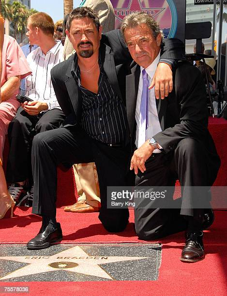 Christian Gudegast and his father Actor Eric Braeden attend the Eric Braeden Walk of Fame Star Ceremony held on Hollywood Boulevard on July 20 2007...