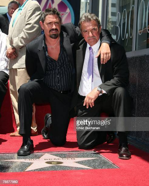 Christian Gudegast and his father actor Eric Braeden poses as Mr Braeden is honored with the 2342th Star on the Hollywood Walk of Fame on July 20...